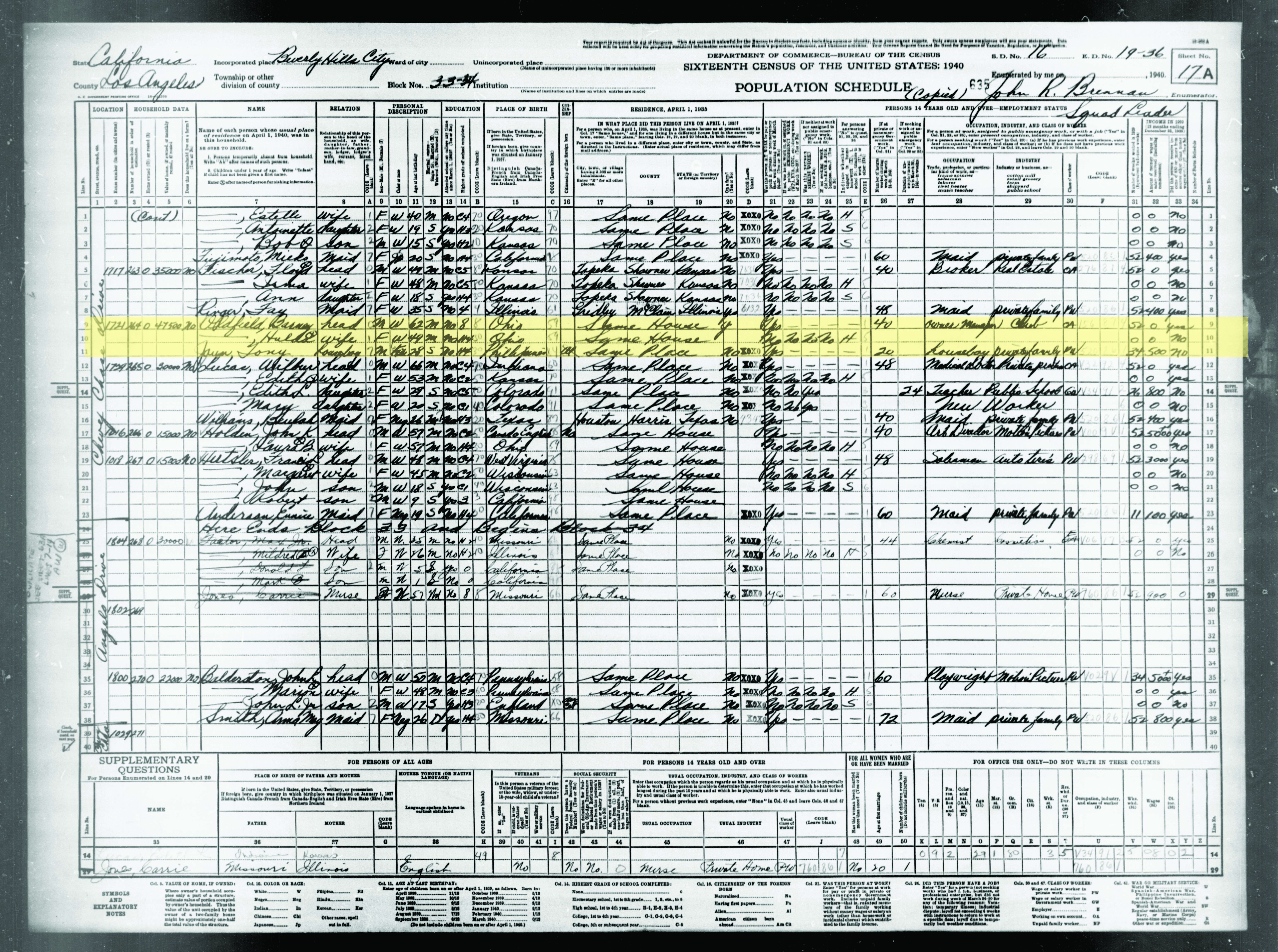 Barney Oldfield Census